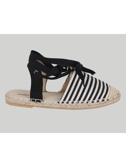 Black Striped Tie Up Espadrilles