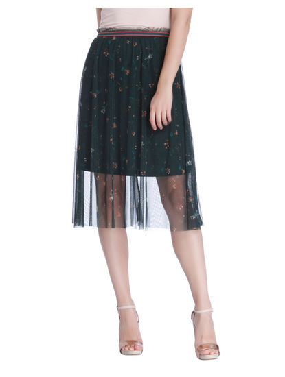 Green Floral Sheer Hem Skirt