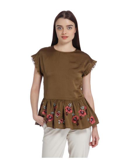 Brown Embroidered Peplum Top