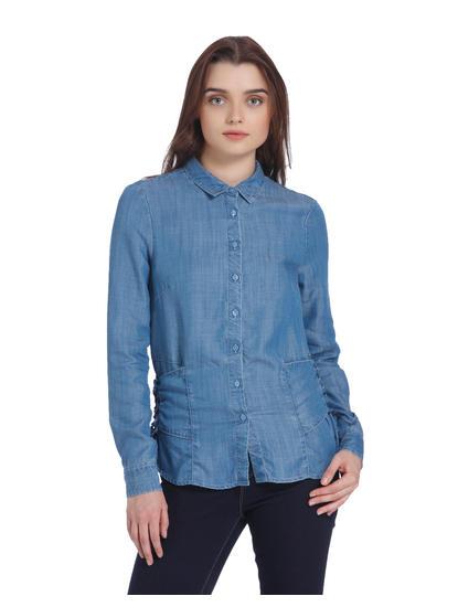 Light Blue Lace Up Denim Shirt