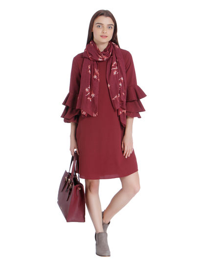 Red Ruffle Sleeves Shift Dress