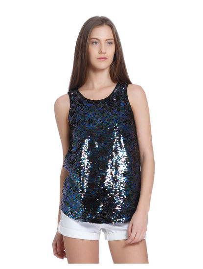 Black Sequined Tank Top