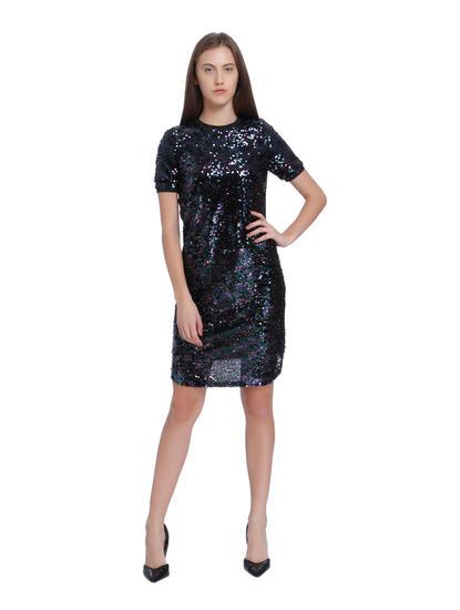 Black Sequined Shift Dress