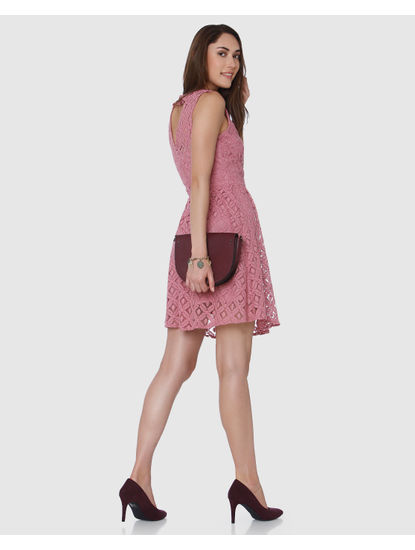 Pink Lace Detail Fit & Flare Dress