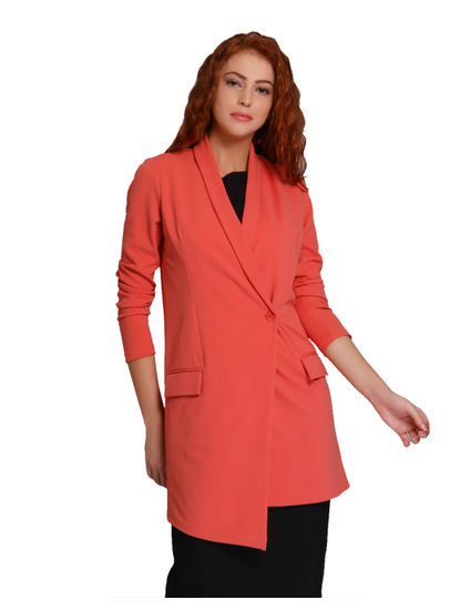 Orange Asymmetrical Long Blazer