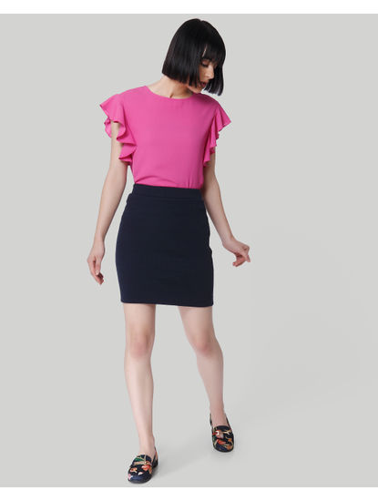 Pink Ruffle Sleeves Top