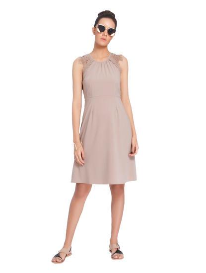 Vero Mode Nude Lace Detail Shift Dress
