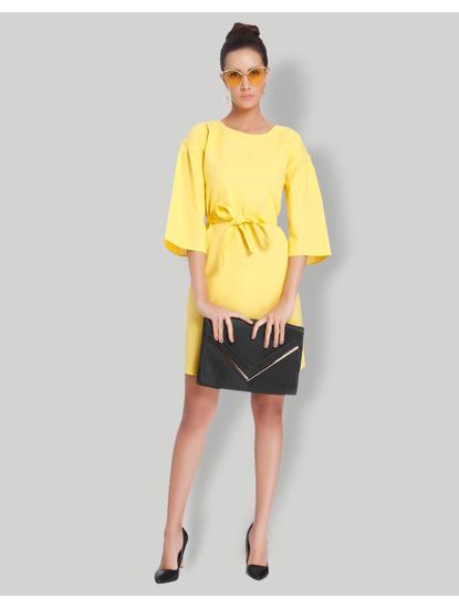Yellow Tie Up Waist Mini Dress