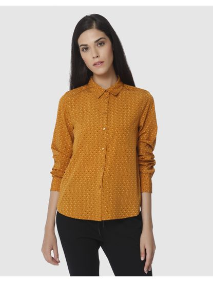 Mustard All Over Dotted Shirt