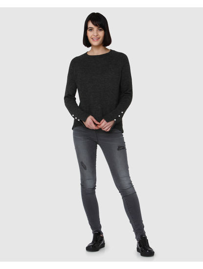 Dark Grey Pearl Embellished Sweater