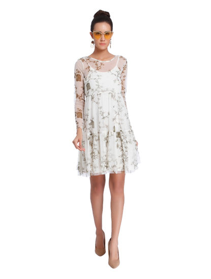 Off White Printed Sheer Shift Dress
