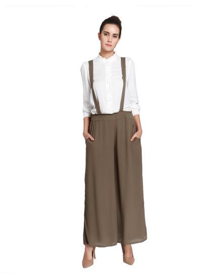 Olive Green Suspender Detail Culottes