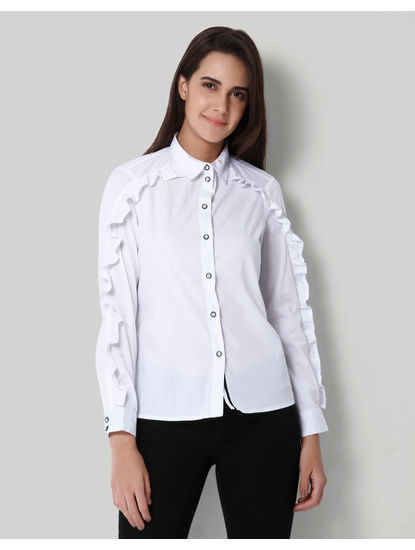 White Frill Detail Shirt