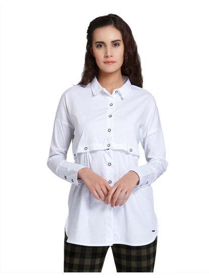 White Button Detailing Shirt