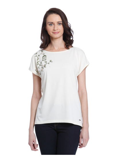 Cream Leaf Print T-Shirt