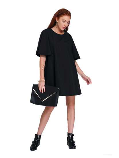 Black Flared Sleeves Swing Dress