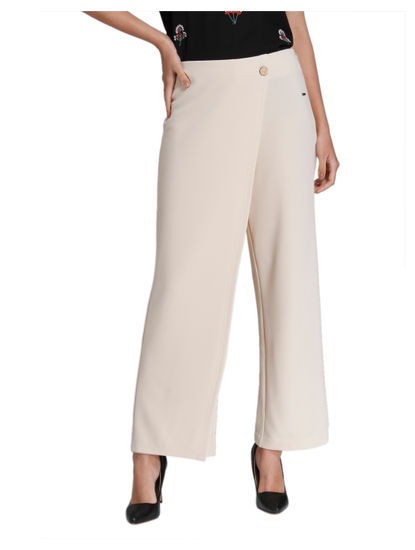 Beige Mid Rise Overlay Pants