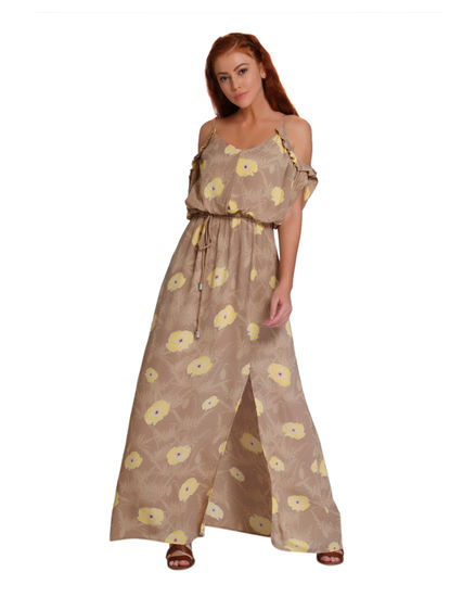 Light Brown Floral Print Cold Shoulder Maxi Dress