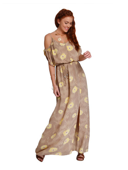 Light Brown Floral Print Cold Shoulder Maxi Dress