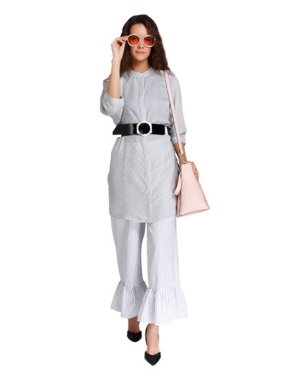 White Striped Flared Pants