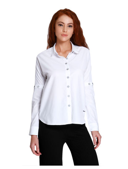 White Button Detail Shirt