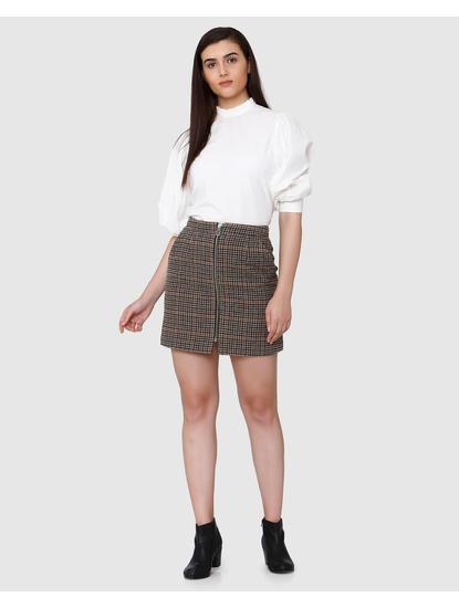 Rust High Waist Check Mini Wool Skirt