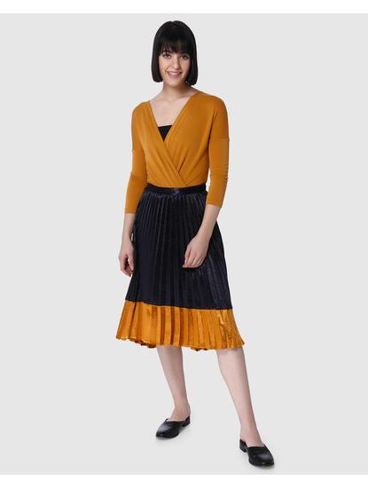 Dark Blue Colourblocked Pleated Midi Skirt
