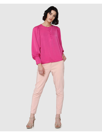 Pink Lantern Sleeves Satin Top