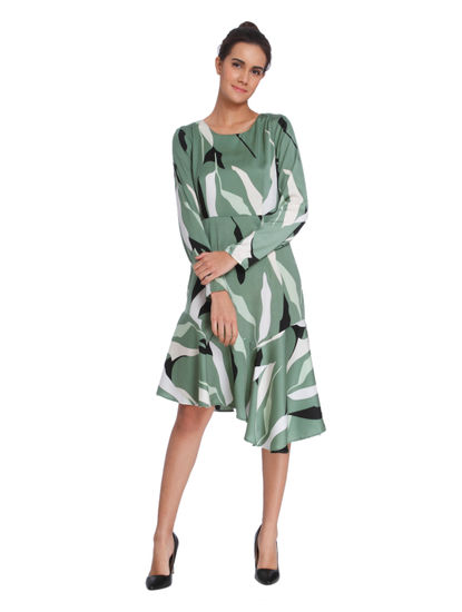 Sea Green Strokes Print Asymmetrical Fit & Flare Dress