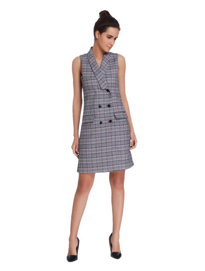 Grey Plaid Blazer Shift Dress