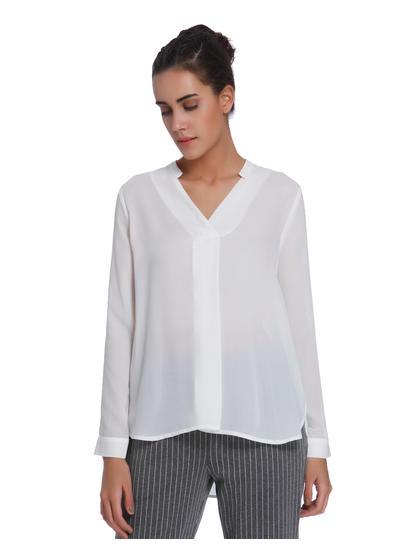 White Split Sleeves Top