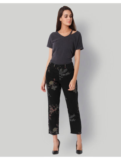 Black Printed High Rise Regular Fit Jeans
