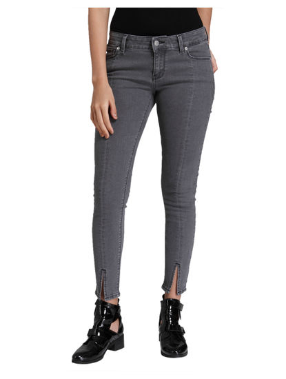 Grey Split Ankle Low Waist Slim Fit Jeans