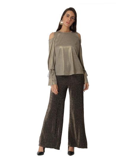 Verov Moda Gold Shimmery Flared Pants