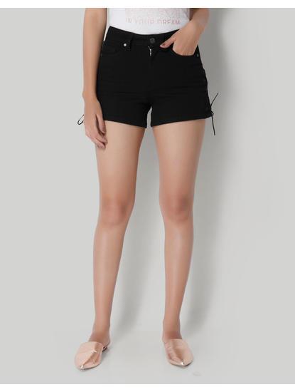 Black Laceup Shorts