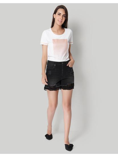 Black Crochet Detail Denim Shorts