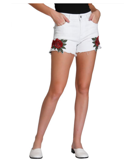 White Floral Print Slim Shorts