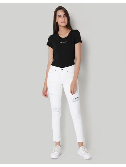 White Regular Waist Ripped Slim Jeans