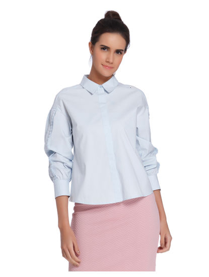 Powder Blue Frill Detail Shirt