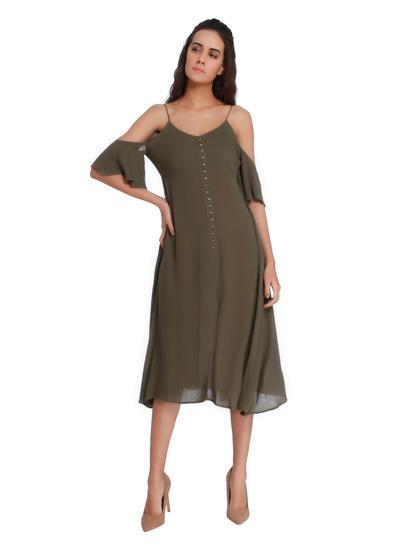 Olive Green Cold Shoulder Midi Dress