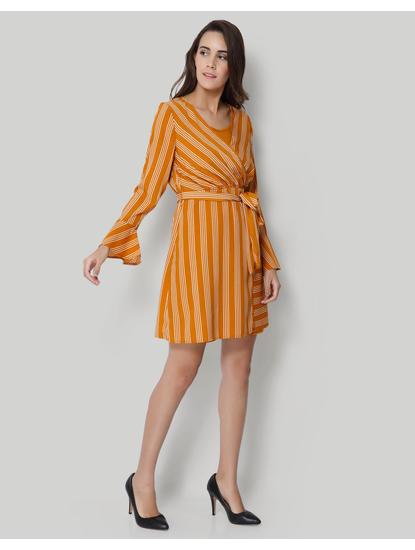 Mustard Striped Wrap Shift Dress