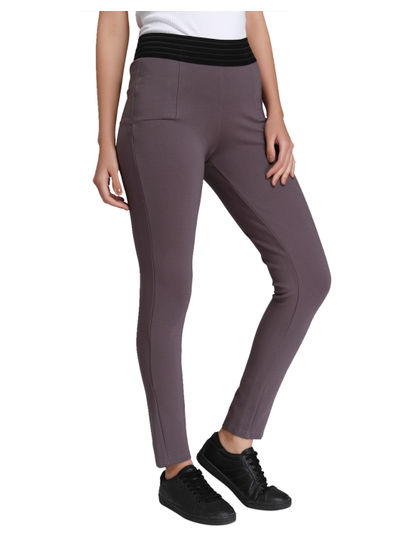 Grey Mid Rise Slim Fit Leggings