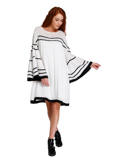 White & Black Flared Sleeves Shift Dress