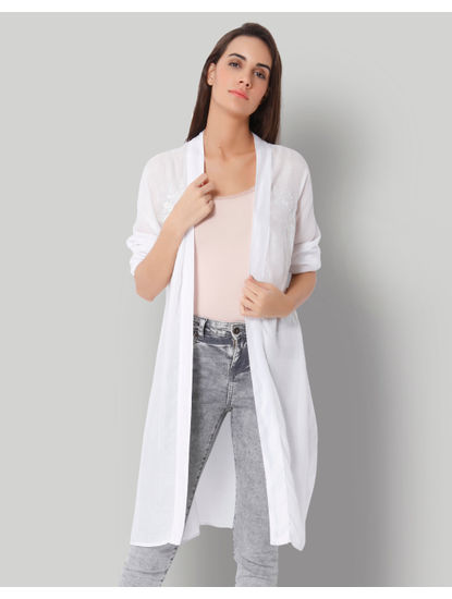 White Embroidered Long Cardigan