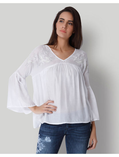White Embroidered Smock Top