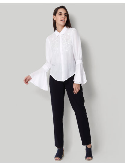 White Embroidered Flared Sleeves Shirt