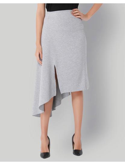 Light Grey High Waist Asymetrical Skirt