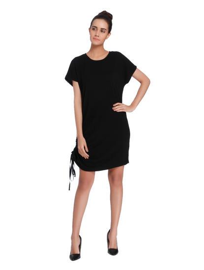 Black Side Cinched Shift Dress