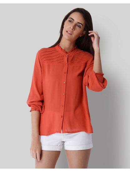 Rust Frill Neck Shirt