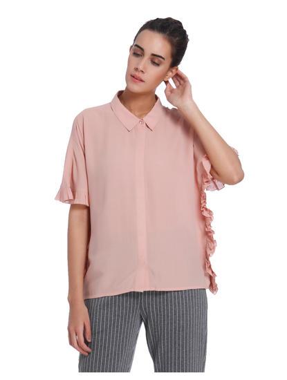 Peach Frill Detail Shirt